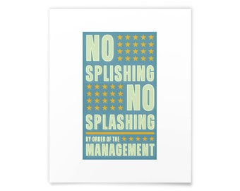 Kids Bathroom Art Prints, No Splishing No Splashing Print, Mom Wall Art, Kids Bathroom Wall Decor, Kids Bathroom Prints