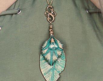long Verdigris Leaf necklace with crystal