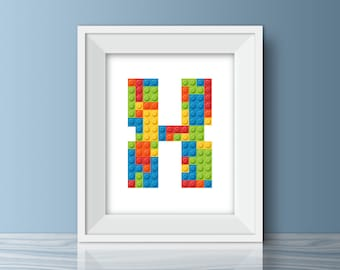 Lego Wall Art, Lego Printable, Nursery Printable, Letter X Lego Nursery Art,