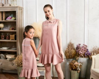 Mommy & Me-Set of 2  Pink Ruffle Drop Waist Dress (set of 2)