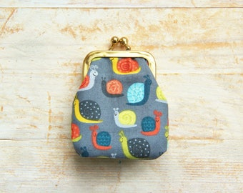 Coin purse mini kiss lock 4 options tiny wallet pouch clip frame change purse Matryoshka snail flower foliage green blue pink black kid gift
