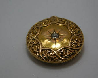 Vintage 14k Gold Locket With Diamond