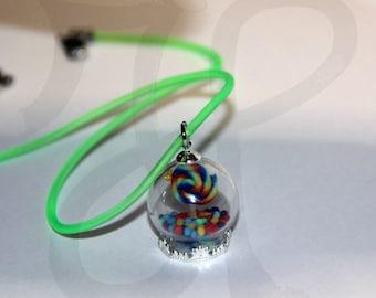 Globe pendant with Rainbow Lollipops