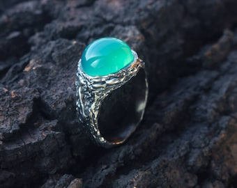 Silver chalcedony ring, green stone ring, signet ring