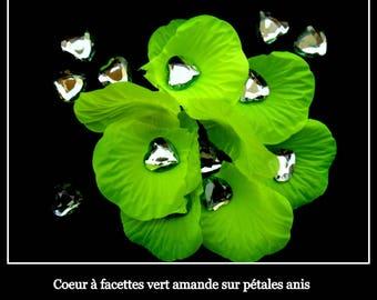 50 heart shaped rhinestone deco wedding almond green 16 MM X 16 MM.