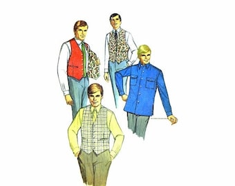 SALE 1960s Mens Shirt and Reversible Vest Simplicity 7973 Vintage Sewing Pattern Chest 42