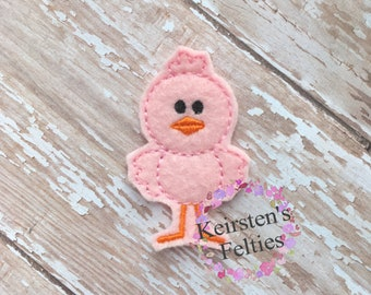 UNCUT Stand-up Chick, embroidered felt embellishment felties (set of 4)
