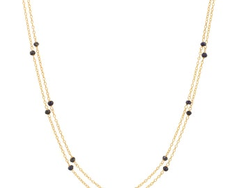 Lapis Lazuli Chain Necklace - Extra Long 46in. Necklace - 14k Gold Filled - Small Faceted Lapis Lazuli Gemstones - Gold Chain