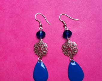Earrings drop enamel spacer and blue rosette silver