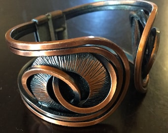 Vintage Copper Metal Cuff Spring Abstract Bracelet - Circa 1950s