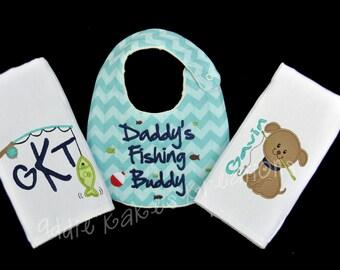 Daddy's Fishing Buddy Set / Baby Gift Set / Burpcloth and Bib Set / Personalized Baby Set / Fishing Gift Set / Baby Boy Shower Gift Set