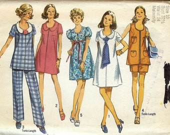 Sewing Pattern Simplicity 8855 Maternity dress round neck collar swing top vest tunic sleeves shorts pants outfit Vintage Size 8 or 10