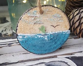 Handmade Beach Driftwood  Ornament,  Coastal Holiday Decorations