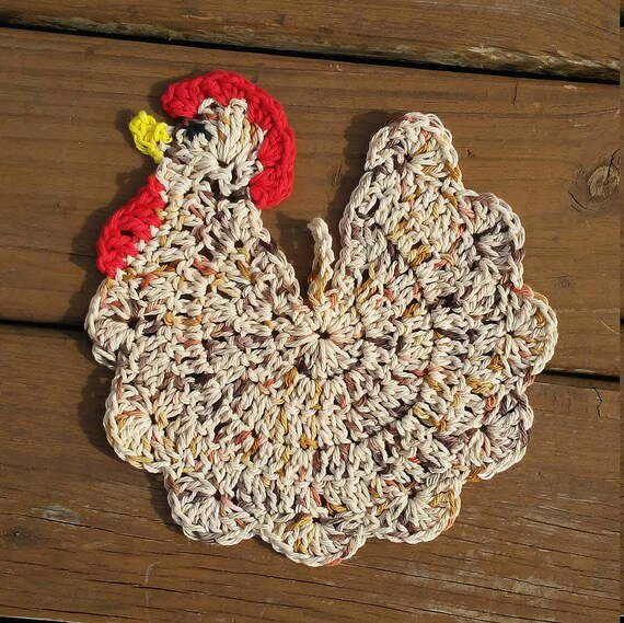 Häkeln Sie Huhn-Topflappen zu Häkeln Sie Huhn Huhn