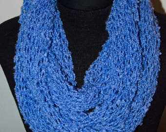 Knit Tube Infinity Scarf  ~ Loop Scarf Blue ~ Loose Knit Infinity Loop Scarf - Knit Cowl  *~* OOAK Gift for Her
