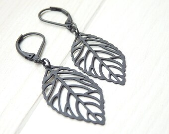 Little Black Leaf Earrings - SMALL