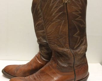 Vintage Dan Post Cowboy Boots Chestnut Brown Leather Mens 8 1/2 D