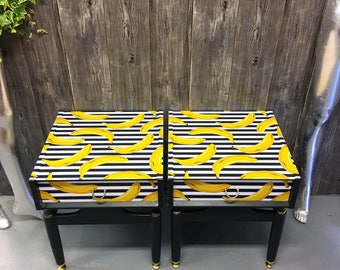 Upcycled  vintage retro Gold Label Gplan bedside cabinets cupboards Gone Bananas decoupage