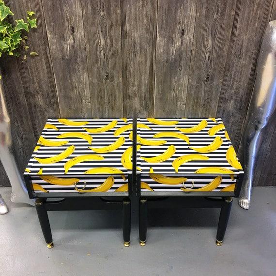 Pair Gplan banana bedside cabinets