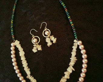 Rose quartz and Pearl beaded necklace and matching earrings