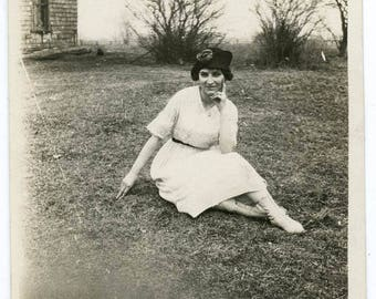 vintage photo Woman Posed w Black Velvet Hat Button up White Leather boots