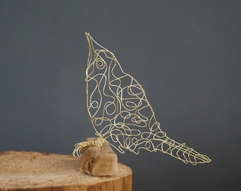 Sculptural Wire Bird Drawing of a Grasshopper Warbler.