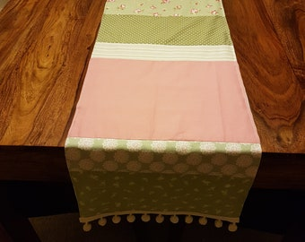 Unique, one off, pretty patchwork table runner, green and pink, shabby chic