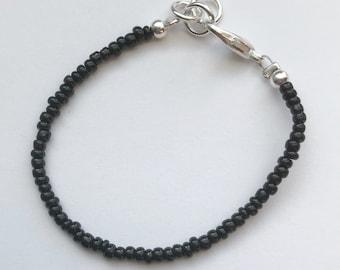 Petite Beaded Bracelet-- Newborn to adult-- Black