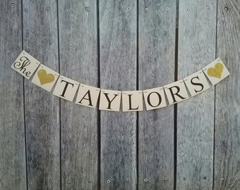 LAST NAME banner, custom name banner, just married banner, wedding photo prop, family las name banner, wedding decorations, custom name sign