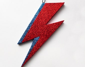 Glam Flash Ornament, glittery lightning bolt, superhero ornament, Bowie Ziggy art decoration