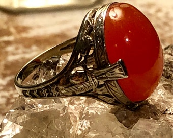 Stunning Art Deco Egyptian Revival Carnelian Cab Ornate Sterling Silver Vintage Ring Art Deco Jewelery