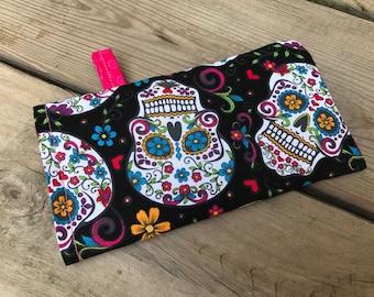 Sunglasses case, ready to ship, skulls, sunnies pouch, festive, sugar skull