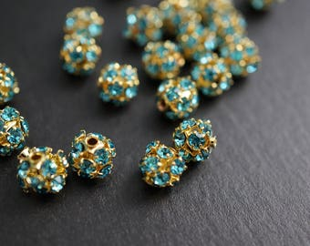 18K Gold Plated Turquoise Blue Crystal Pave Rhinestone Ball Beads - 6mm - 10 pcs