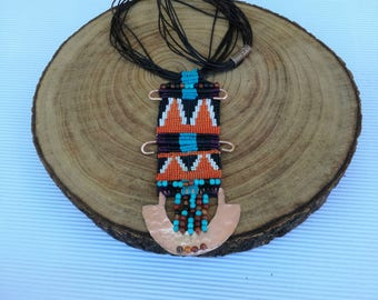 Native american jewelry, Native american necklace, Native american beadwork, Native american beaded jewelry, Bohemian macrame necklace