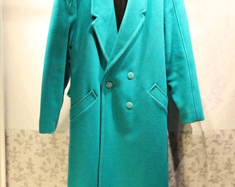 Vintage Long Winter Dress Coat - Teal, Sz M - Overcoat