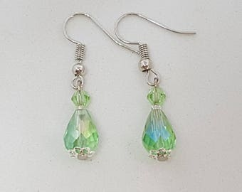 Glass crystal beaded Silver earrings