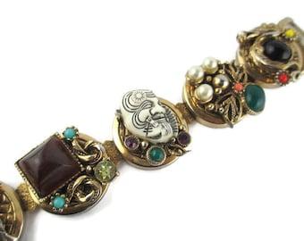 Selro White Devil Dragon Bracelet/Selro Japanese Okina Noh Mask Bracelet / Selro Faux Coral Butterfly Faux Jade  Medallion Link Bracelet