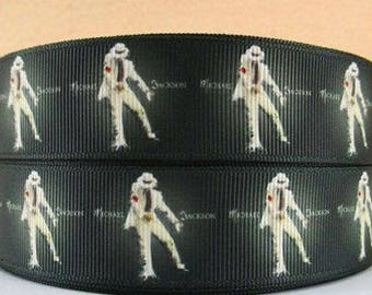 "MICHAEL JACKSON 25MM 1"" Grosgrain Ribbon Craft Bow Decoration Metre Yard Music RB19"
