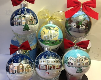 Custom House Ornament Painted House Warming Gift realtor closing gift