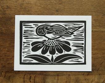 Single hand printed Bird on a Flower card, linocut, black ink