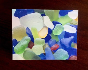 Seaglass photographic note card, seaglass card - blank for all occasions
