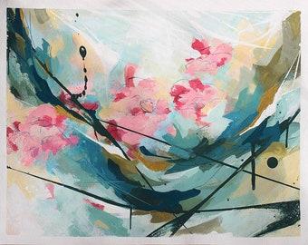 Peinture abstraite à l'acrylique, Fleurs, Tableau abstrait contemporain unique, peinture moderne sur papier, oeuvre d'art originale