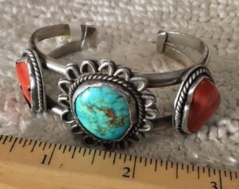 Bracelet Cuff Turquoise Coral