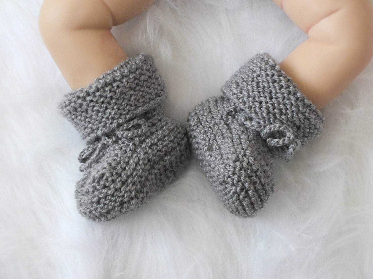 Gray Baby Boots Knitted Baby Booties Baby Boy Shoes