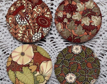 In the Red -- Art Nouveau Floral Pattern Mousepad Coaster Set