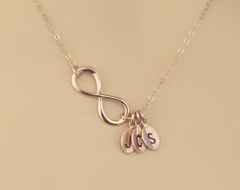 Mothers Day Custom Infinity Necklace Gift,  Rose Gold Infinity Charm Initial Leaf Necklace, Letter Charm Necklace, Initial Leaf Charm