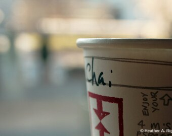 Chai Tea, Cup, Cafe Photograph, afternoon tea, kitchen decor, Bokeh, coffee shop,