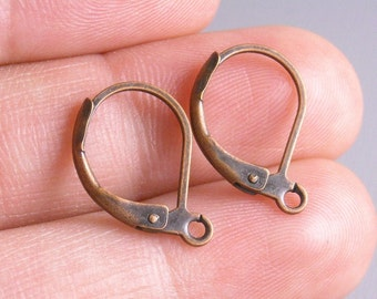 HOOP-COPPER-L-15MM - 40 pcs of 15mm Antique Copper Hoop Earrings with Lever Back