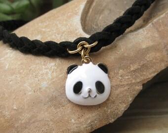Panda necklace, Panda choker, Panda jewelry, Black choker with panda, panda bear necklace, Black and white necklace, childrens necklace