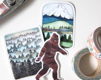 Northwest Sticker Set - Mt Hood Sticker - Forest Sticker - Sasquatch Sticker  - Pacific Northwest Souvenir - Northwest Sticker Set